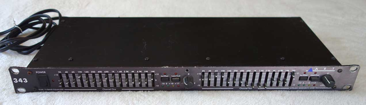 Used ART 343 Dual-Channel Graphic Equaliser w/XLR In/Outs + RCA In/Outs, 15-Band, 2-Ch EQ