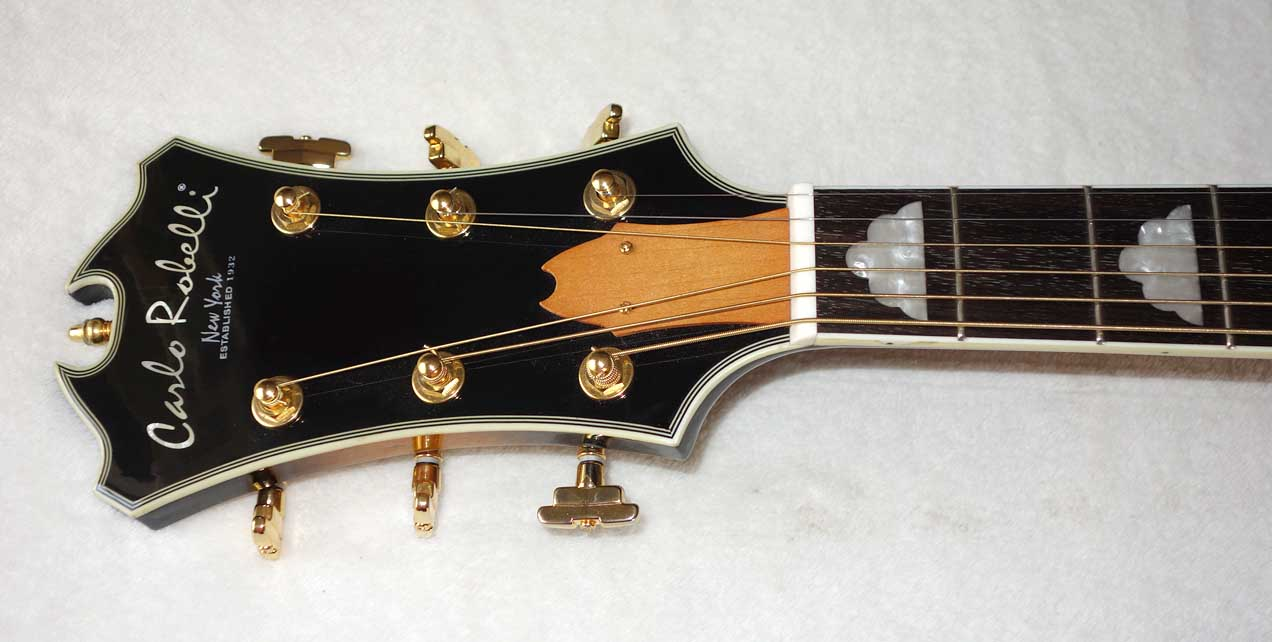 Used Carlo Robelli TJW-910 Jumbo J200-Style Guitar w/Grover Imperial Tuners, Quilted Maple Back/Sides w/Cloud Inlays, Case