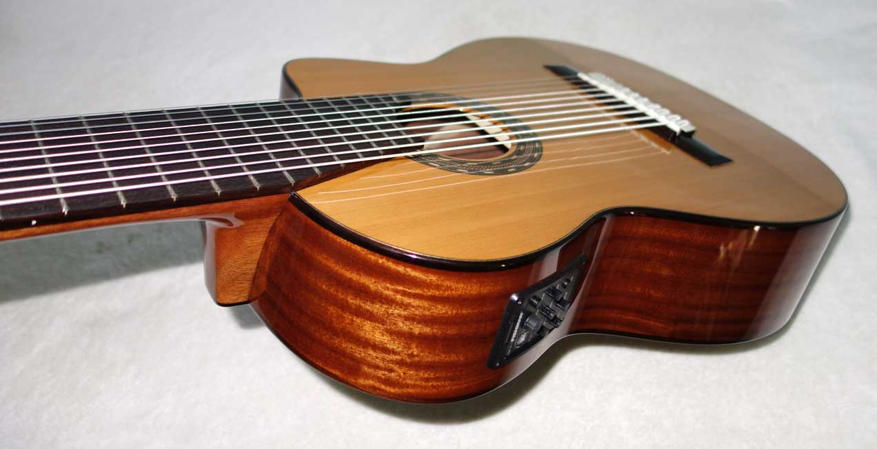 NEW 2017 Cathedral Guitars 125CEL 10-String Classical Harp Guitar w/Cutaway, Pickup, Hardshell Case