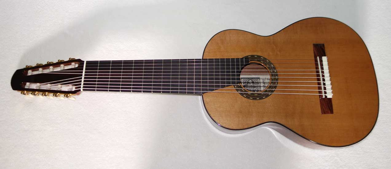 New Cathedral Guitars Model 125-EL Classical 10-String Harp Guitar w/BBand A2.2 Pickup, Hardshell Case