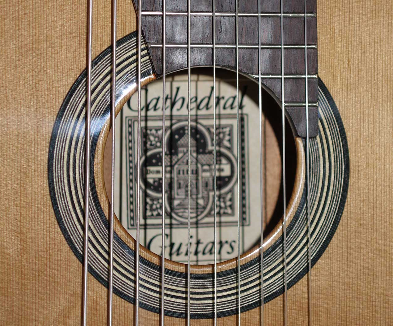 New Cathedral Guitars Model 15-EL, All-Solid Classical 10-String Harp Guitar w/Custom BBand A2.2 Pickup, Hardshell Case