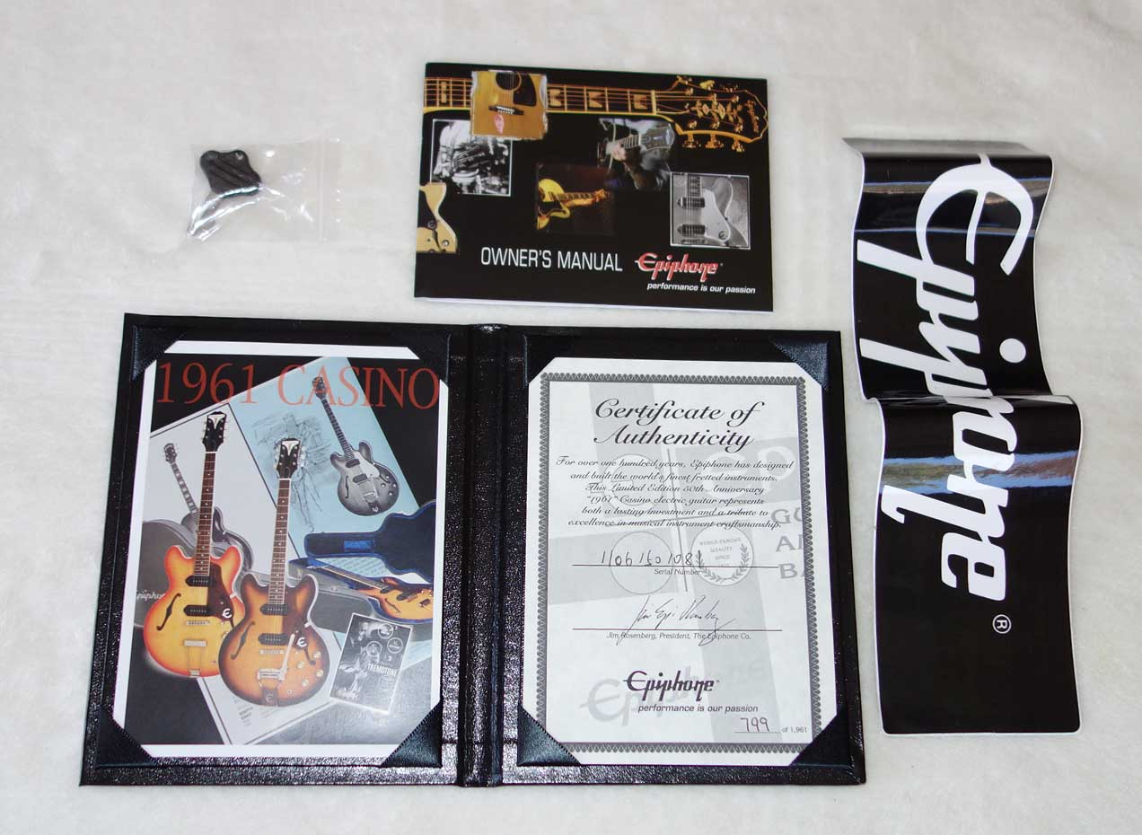 2011 Epiphone Casino 50th Anniversary '61 Reissue, w/Certificate, Hardshell Case