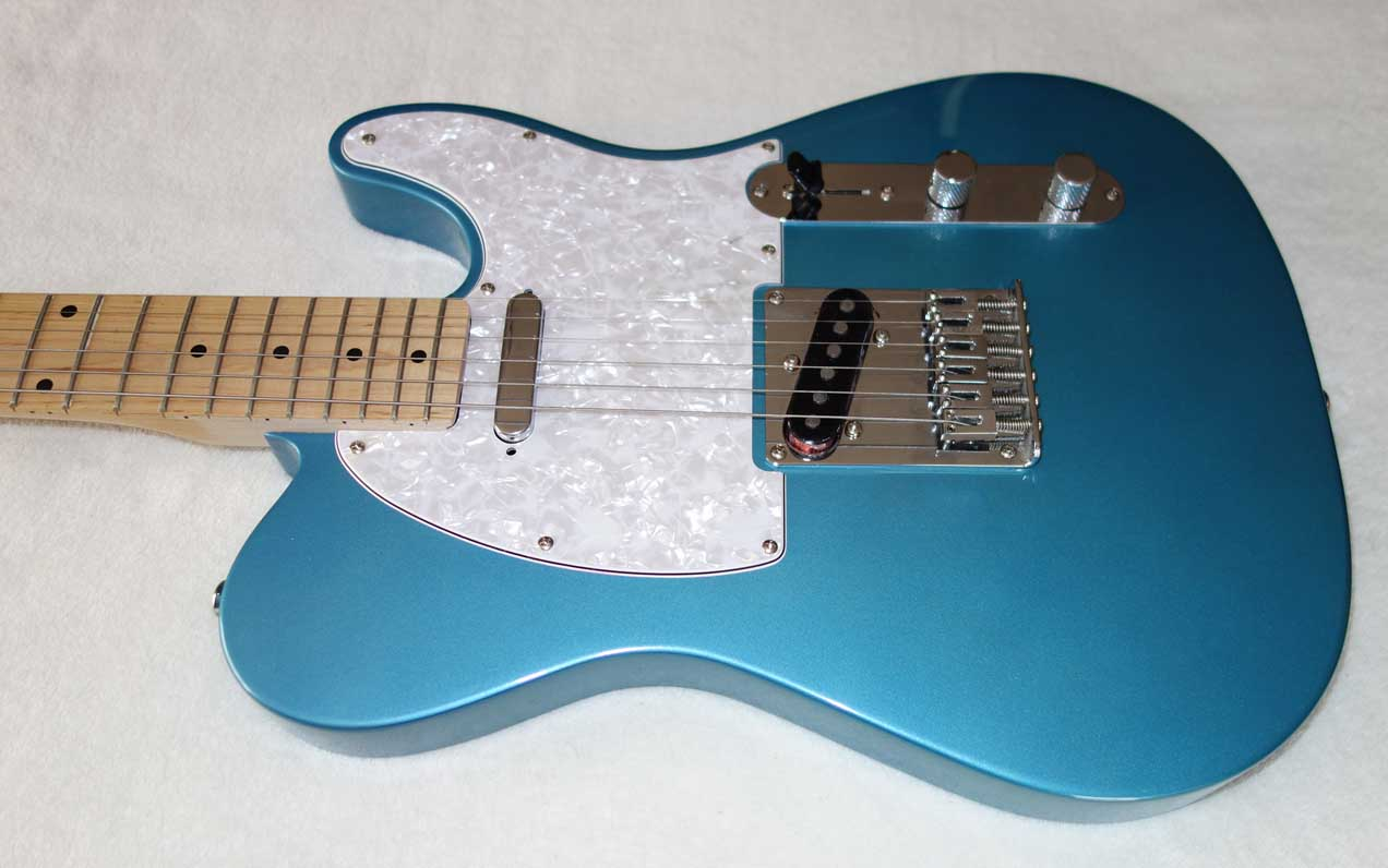 "Used Partscaster Vintage 50s-Style Blue Telecaster, Maple Neck, Warmouth Pickguard w/Rio Grande ""Halfbreed"" Bridge PUP, 2004 Fender MIM ""Special Edition"" Neck PUP"