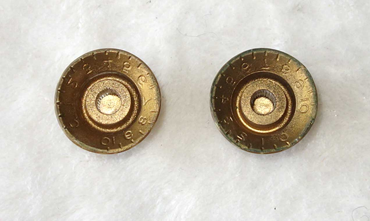 Vintage 1961 Gibson Gold Top Set of Two Pots Labeled 1x Volume + 1x ToneHat Knobs