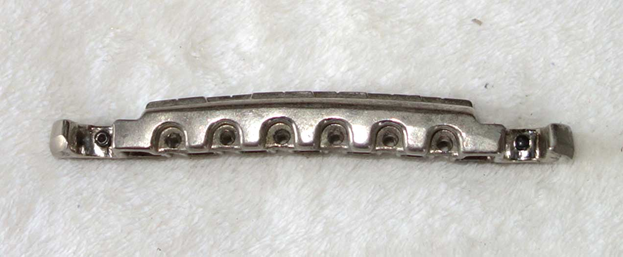 Vintage Early 1960s Gibson Lightning Bolt Bridge for Les Paul Junior, SG Jr, Melody Maker + Others  Nickel Plated, W/2x Set Screws