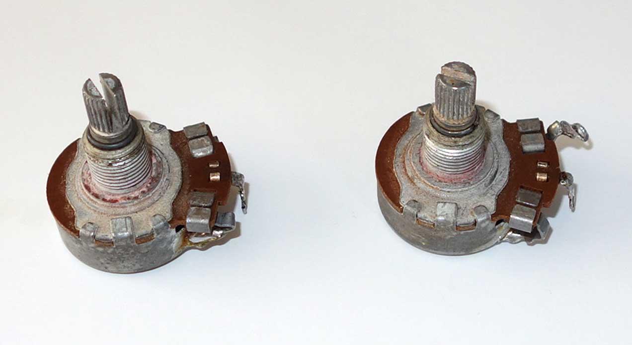 Vintage 1963 Gibson / Centralab 2x 500k Pots Set Matching Date Codes: 63-26, Measured Resistance: 490k, 512k