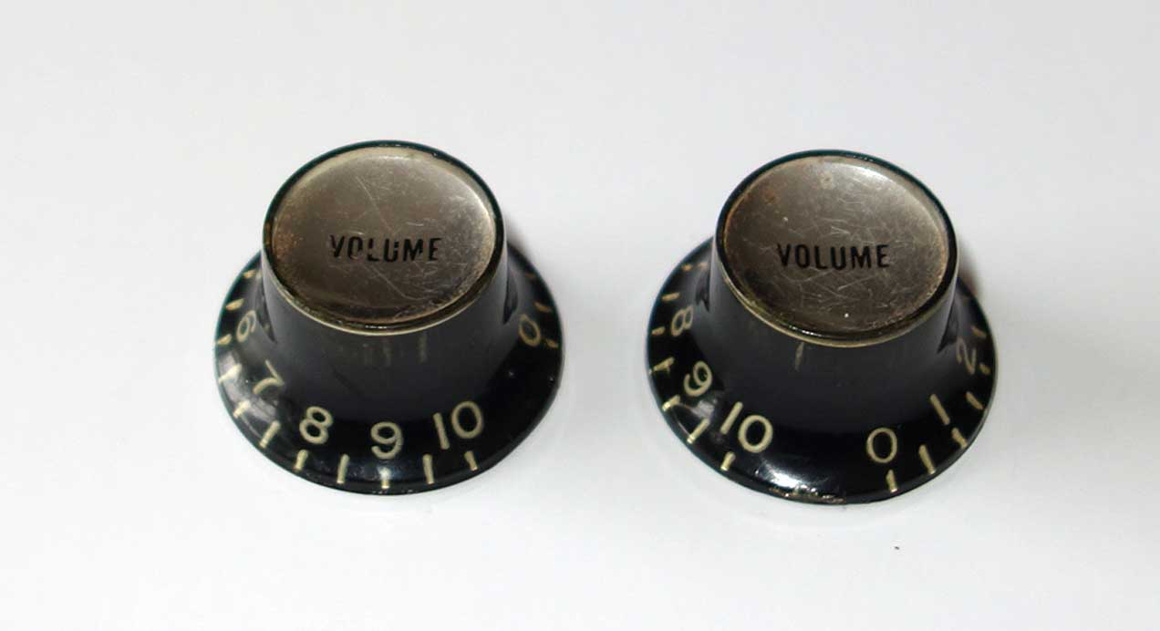 """Vintage Vintage 1963 Gibson 2x """"Deep Shaft"""" Reflector Knobs 2x Volume Knob from a 1963 Epiphone"""