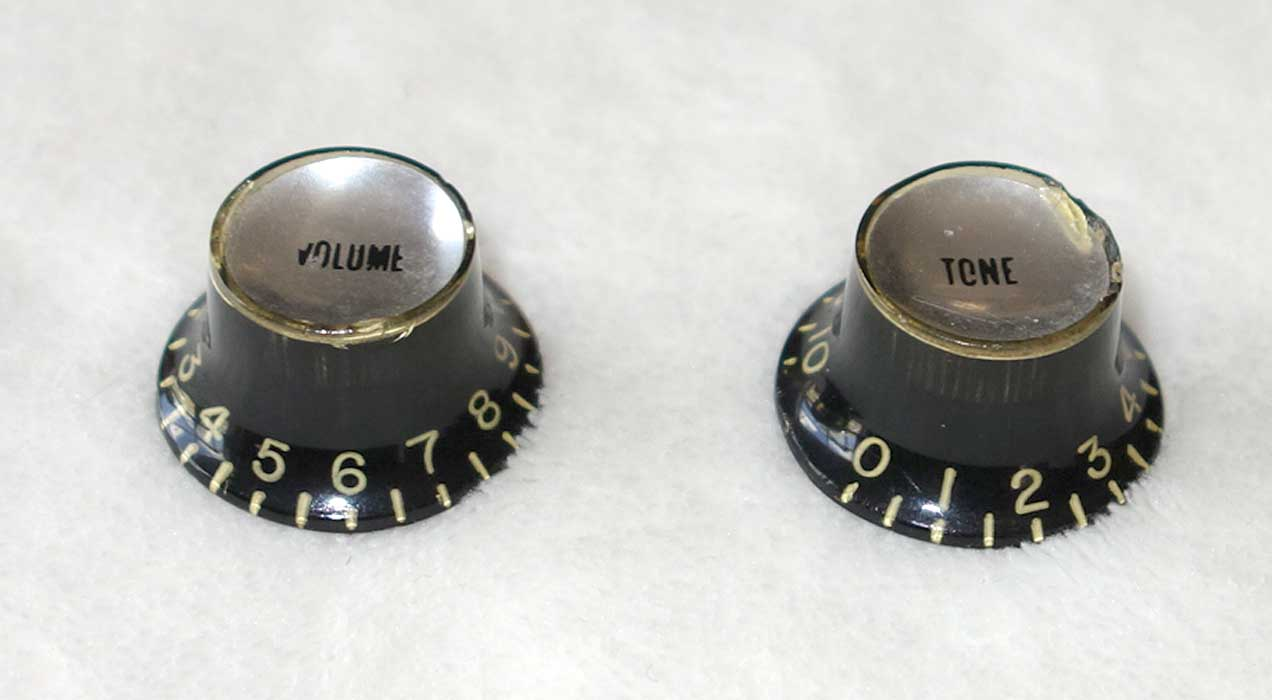 Vintage 1966 Gibson Top Hat Knobs, Set of Two Black/Silver