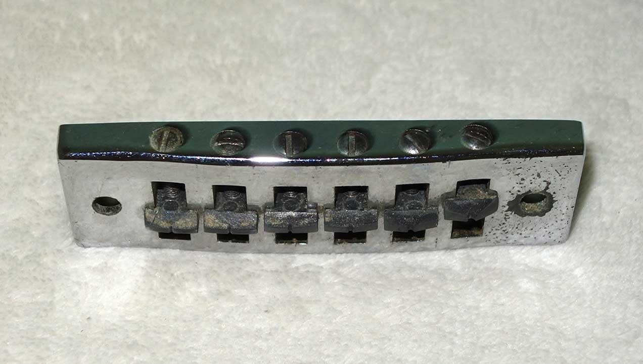 Vintage 1970s Gibson / Schaller Harmonica Bridge w/Posts, Inserts