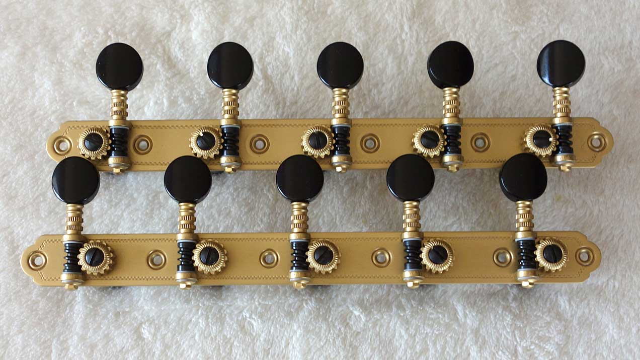 NEW Rubner Custom 10-String Tuning Machines 5-On-A-Plate w/Teflon Coated Bearings, Engraved Brass Plates, Made in Germany