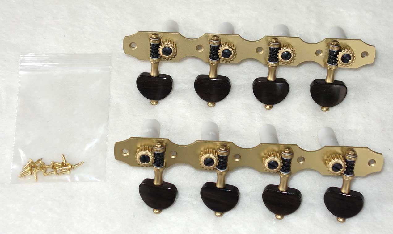 NEW Rubner 8-String Guitar Tuners w/Teflon Bearings, Brass Plates, White Rollers, 4-On-A-Plate